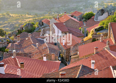 Portugal: View over the roof tops of historic village Monsanto - Stock Photo
