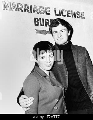 Liza Minnelli and Australian singer Peter Allen at the Marriage License Bureau. New York City, Feb. 20, 1967. The - Stock Photo