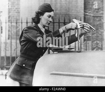 Kay Summersby, at her office in Rheims. She drove ambulances in London during the Blitz while in the British Mechanized - Stock Photo