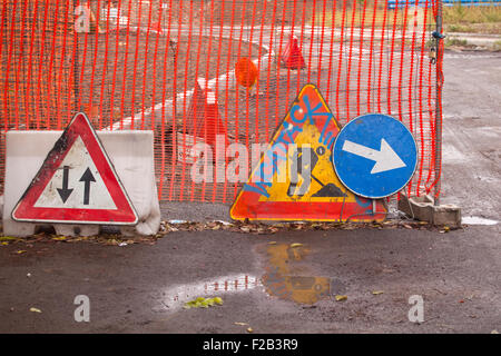 Various road signal, work in progress - Stock Photo