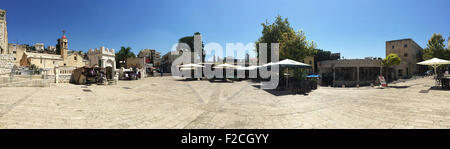 Nazareth, Israel: panoramic view pf the main square with the Greek Orthodox Church of the Annunciation, Church of - Stock Photo