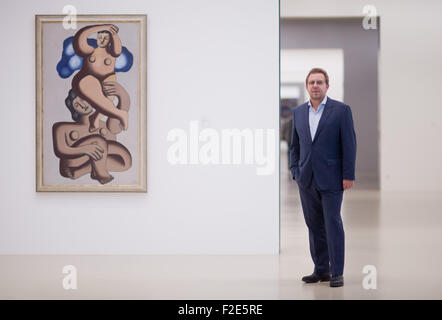 Hanover, Germany. 17th Sep, 2015. Director of the museum, Reinhard Spieler stands in front of the art work 'Studie - Stock Photo
