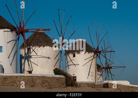 Kato Mili, the famous windmills of the Greek island of Mykonos - Stock Photo