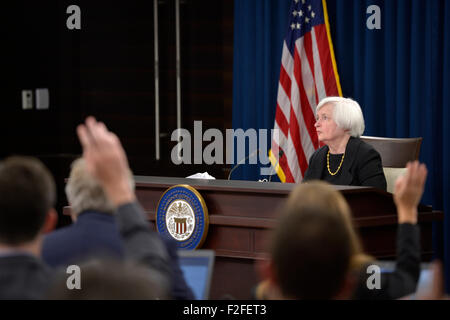 Washington, DC, USA. 17th Sep, 2015. U.S. Federal Reserve Chair Janet Yellen attends a press conference in Washington, - Stock Photo