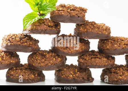 No bake chocolate cookies with quinoa crispies - Stock Photo
