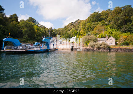 The King Harry Chain Ferry Which connects St Mawes and the Roseland Peninsula  with feock across The River Fal Cornwall - Stock Photo
