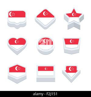 singapore flags icons and button set nine styles - Stock Photo