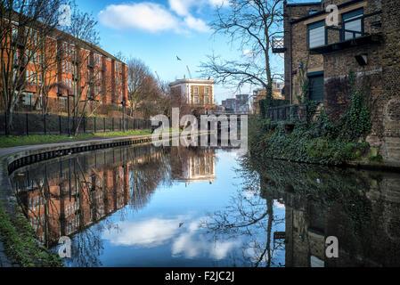 Regent's Canal Camden Town London near Camden Road towards King's Cross St Pancras - Stock Photo