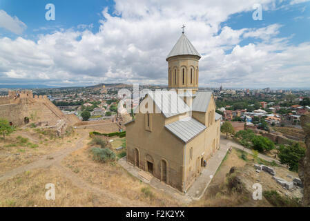 Saint Nicholas church in Narikala fortress apanoramic view of Tbilisi, Europe. - Stock Photo