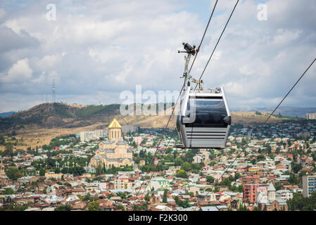 Funicular cable car system in Tbilisi city, Georgia - Stock Photo