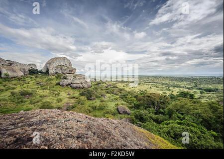 As emblemáticas Pedras Negras de Pungo Andongo na província de Malange em Angola - Stock Photo