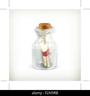 Message in ? bottle, vector icon - Stock Photo