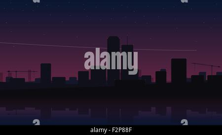 quiet night city scene with stars in the sky, modern buildings. vector abstract background design - Stock Photo
