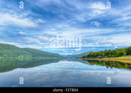 View over a Scottish Loch. - Stock Photo