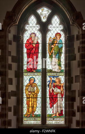 Stained glass window by Sir Edward Burne-Jones and made by the William Morris studio in St Martins church, Brampton, - Stock Photo