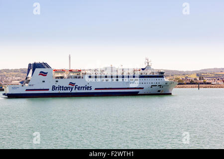A Brittany Ferries cross channel ferry entering port at Cherbourg, Normandy, France - Stock Photo