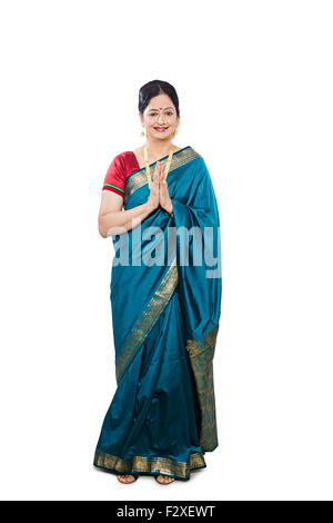 1 indian Marathi Adult Woman diwali Festival Joined Hand Welcome - Stock Photo