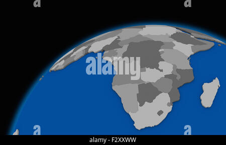 south Africa on planet Earth, political map - Stock Photo