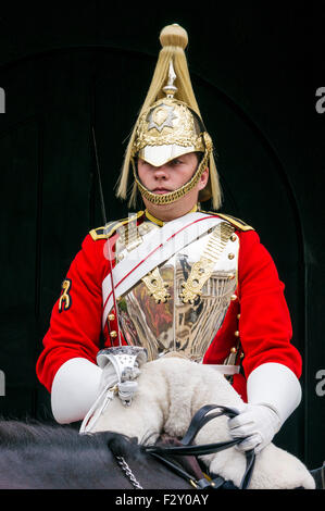 Mounted Horse guard from household cavalry outside The Household Cavalry Museum Horse Guards Parade Whitehall, London - Stock Photo