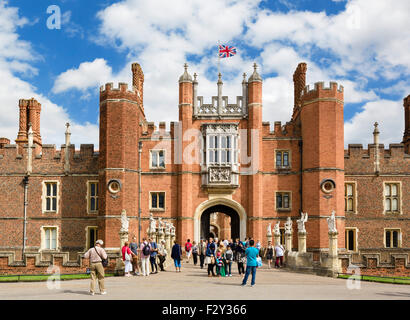 Hampton Court Palace. The West Front and Main Entrance to Hampton Court Palace, Richmond upon Thames, London, England, - Stock Photo