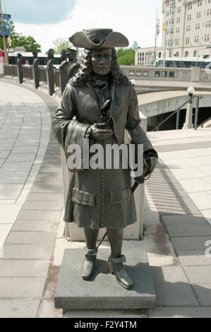 Statue of Pierre Le Moyne d'Iberville (died 1706) - Ottawa - Canada - Stock Photo