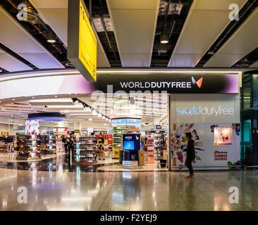 London Heathrow Airport Terminal 2, Queen Elizabeth Terminal T2, World Duty Free shop in Departures Hall - Stock Photo