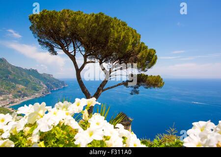 Ravello, panoramic view from Villa Rufolo, Amalfi Coast, Italy - Stock Photo