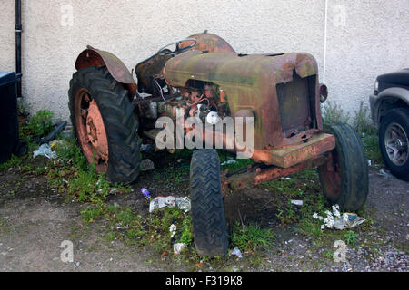 Dilapidated 1960's David Brown 950 Model Tractor - Stock Photo