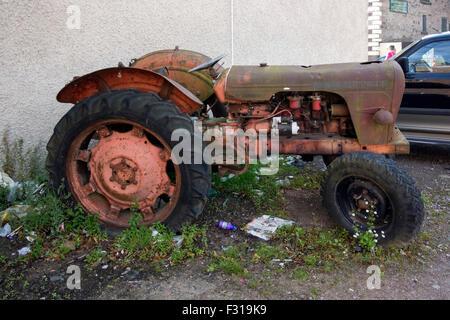 Dilapidated 1960's David Brown 950 Model Tractor - Stock Photo