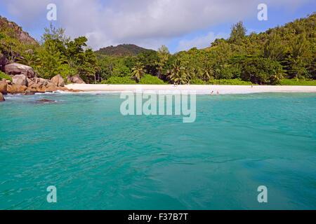 Dream beach Anse Georgette, Praslin Island, Seychelles - Stock Photo
