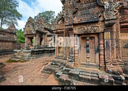 Banteay Srei temple. Angkor Archaeological Park, Siem Reap Province, Cambodia. - Stock Photo