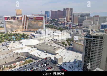 Daytime aerial view of Resorts, Hotels and Casinos in Las Vegas, Nevada. - Stock Photo