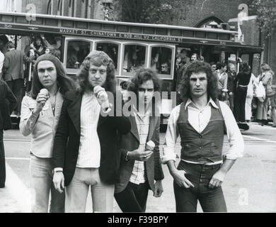 SLADE UK pop group in New York about 1973. From left  Dave Hill, Noddy Holder, Jim Lea, Don Powell - Stock Photo