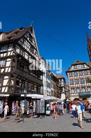 Strret of Strasbourg, Bas-Rhin, Alsace, France - Stock Photo