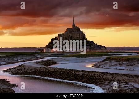 Couesnon river Le Mont-Saint-Michel Saint Michael Mount Benedictine abbey Lower Normandy Manche France Europe - Stock Photo
