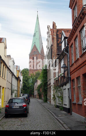 Church tower seen from Weberstrasse, Lubeck. - Stock Photo