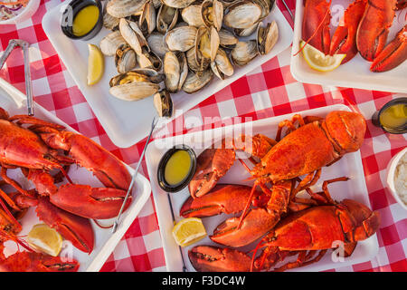 View of table with lobster meal - Stock Photo