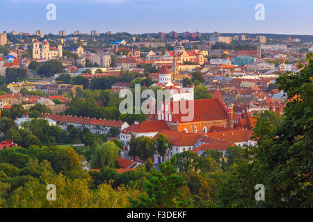 Aerial view over Old town of Vilnius, Lithuania. - Stock Photo