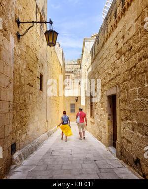 A quiet backstreet in Mdina, Malta - Stock Photo