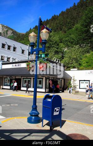 Post box ; lamp post ; Juneau ; Alaska ; U.S.A. United States of America - Stock Photo