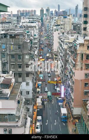 Busy city view, Yau Ma Tei, Hong Kong - Stock Photo