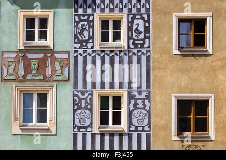 Colorful facades on the central square in Poznan - Stock Photo