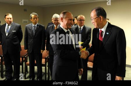 Russian President Vladimir Putin meets with United Nations Secretary-General Ban Ki-moon at U.N. headquarters September - Stock Photo