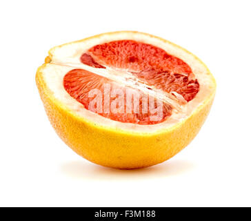 Half cut grapefruit isolated on white - Stock Photo