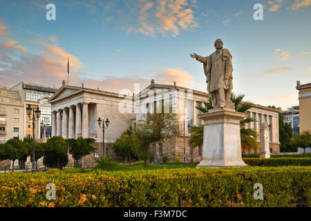 Statue at the National Library of Greece in Panepistimio, Athens - Stock Photo