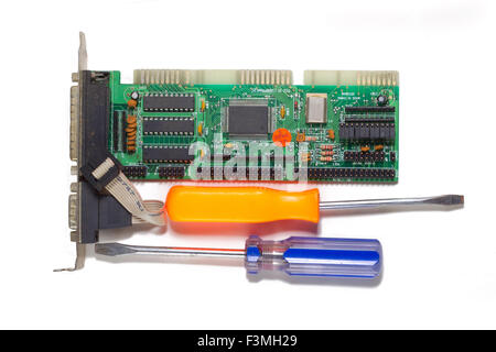 Computer repair on a white background . - Stock Photo