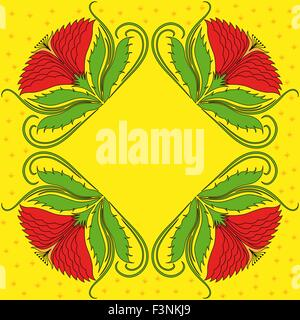 Four abstract red decorative rosette flowers on yellow background. Hand drawing vector illustration - Stock Photo