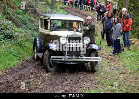 New Radnor, Powys, Wales - Saturday 10th October 2015 - The Vintage Sports Car Club ( VSSC ) hill climb trial challenge - Stock Photo