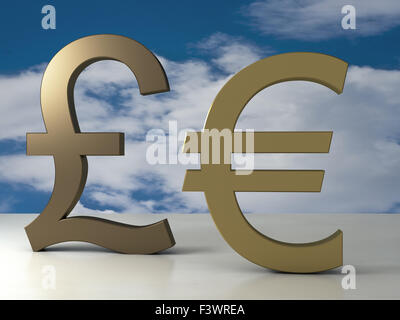 Pound and euro signs - Stock Photo