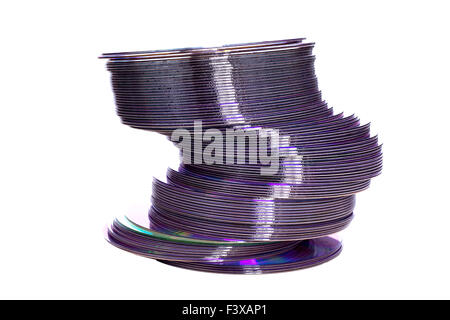 A pile of dvd discs isolated on white - Stock Photo